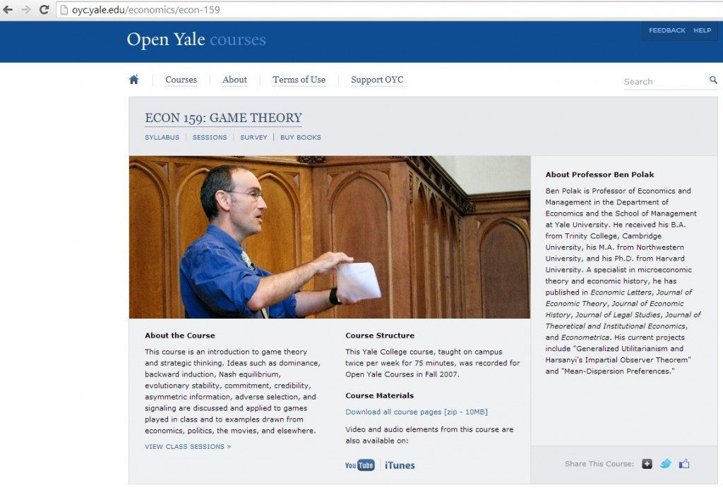 Yale Game Theory MOOC